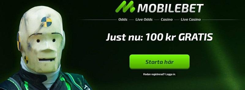 Få 100 kr gratis hos Mobilebet Casino!
