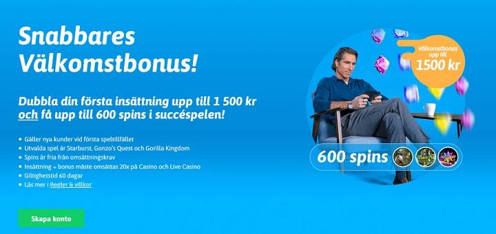 Få 100% bonus och upp till 600 free spins hos Snabbare!