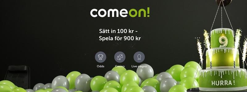 Nyhet - 800% bonus hos ComeOn just nu!