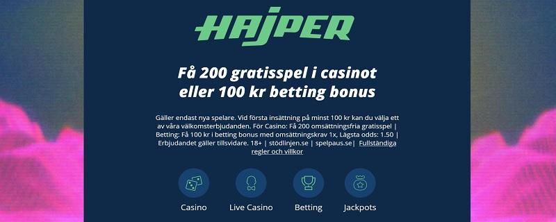 Hajper casinobonus är en av de bästa casinobonusarna september 2020