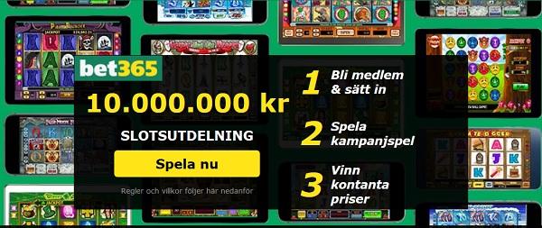 10 miljoner kronor Slotsutdelning hos Bet365