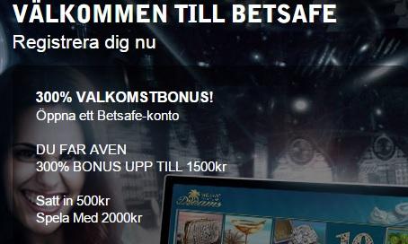 Betsafe casino bonus 300% upp till 1500 kr
