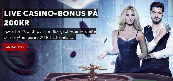 Betsafe livecasino bonus på 200 kr