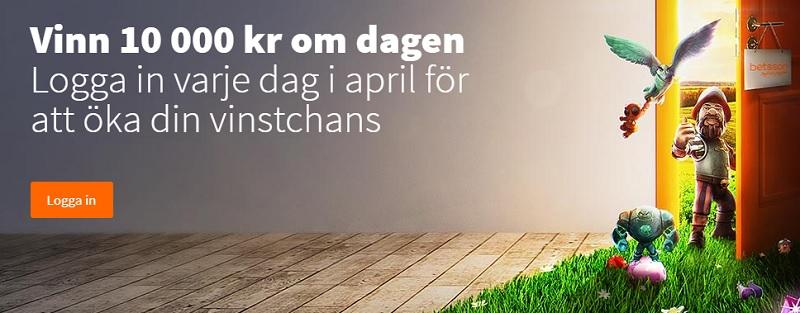 Vinn 10.000 kr hos Betsson varje dag i April 2018