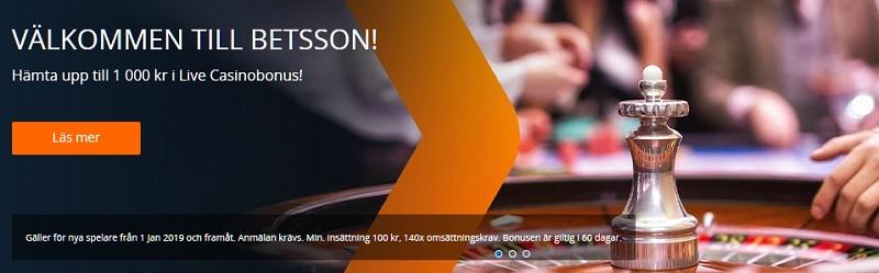 Hämta Betsson Live Casino bonus på upp till 1000 kr!