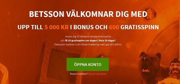 Betsson casino bonus för svenska spelare 2017