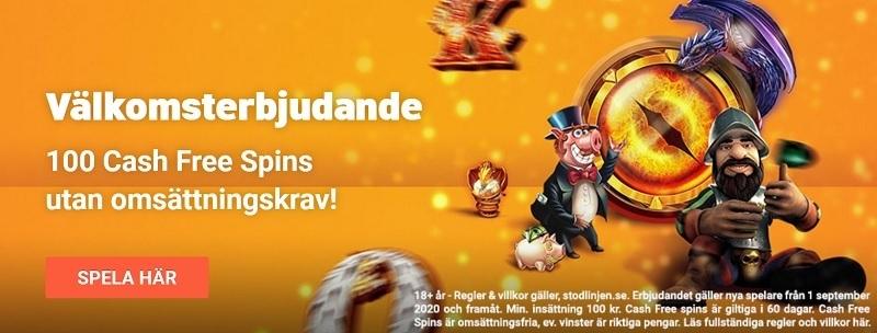 Casinobonusar med free spins hos LeoVegas ger dig 100 Cash Free Spins