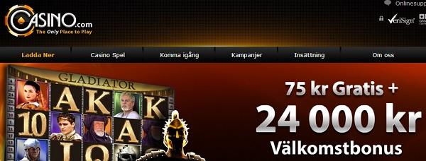 Casino.com free spins och 75 kr gratis