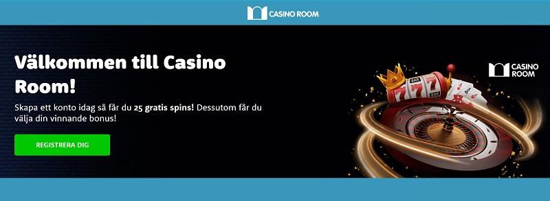 Casinoroom bonus på dina fem första insättningar + 25 free spins direkt vid registreringen.