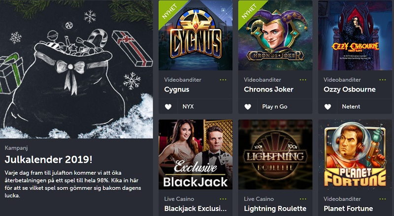 ComeOn julkalender med 98% RTP på ett spel varje dag!