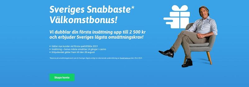 Dubbla din insättning hos Snabbare upp till 2500 kr!