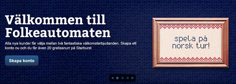 Folkeautomaten bonus ger 100% upp till 5000 kr + 20 snurr