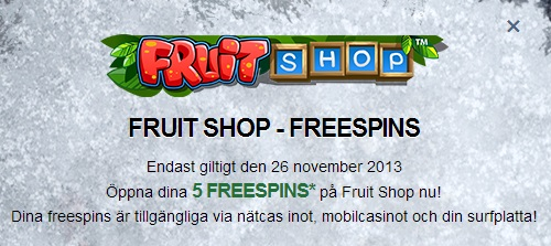 Mr Green - Free spins 26 november 2013