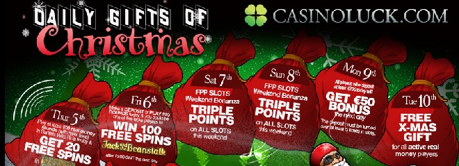CasinoLuck Julkalender med free spins 5 december 2013