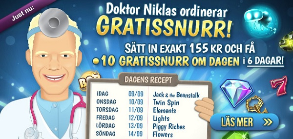Free spins 9 Spetember 2014