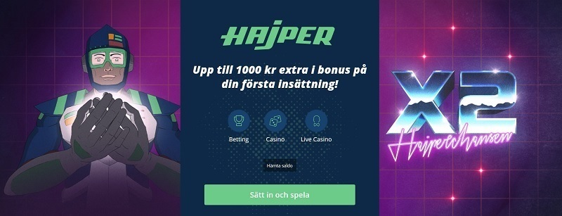 Med Hajper casinobonus får du 100% bonus!