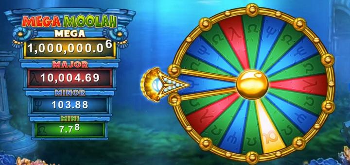Vinn en av fyra jackpottar i jackpotthjulet på Atlantean Treasures: Mega Moolah