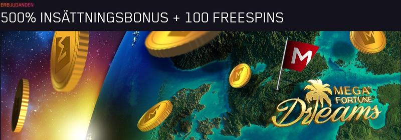 Maria Casino välkomstbonus med 500% + 100 free spins
