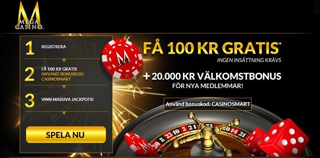 Mega Casino 100 kr gratis bonus