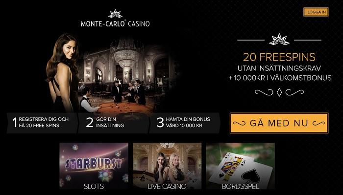 Monte Carlo Casino Bonus 10000 kr