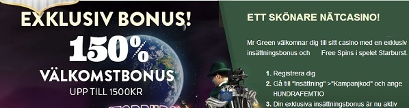 Casino Mr Green 150% bonus