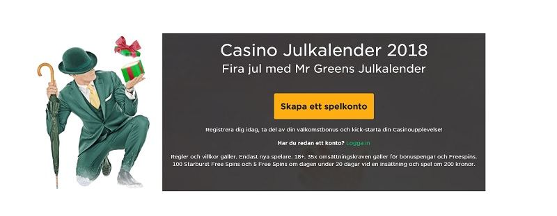 Mr Green julkalender 2018 har startat!