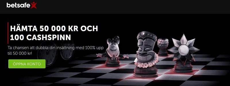 Ny Betsafe casinobonus på totalt 50 000 kr + 100 cashspins!