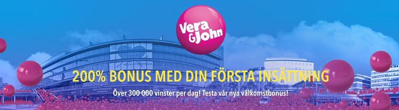 Ny Vera&John casinobonus på 200% upp till 1000 kr!
