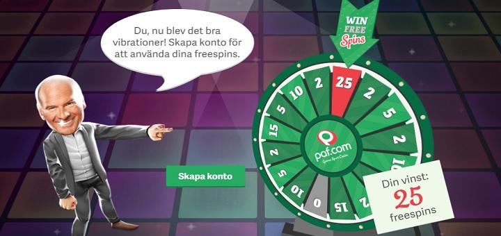 Paf casino 2018 ger dig 25 freespins + 100 kr gratis