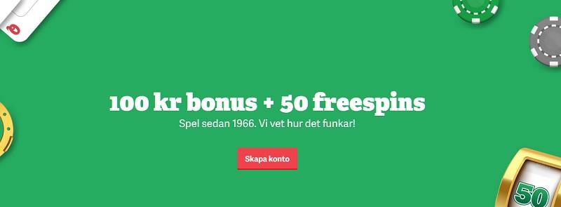 Paf casinobonus med 100 kr + 50 freespins!