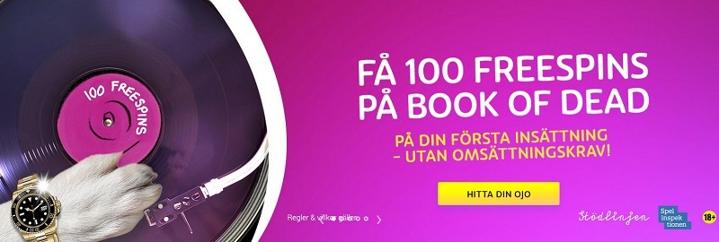 PlayOjo Casino bonus med 100 free spins