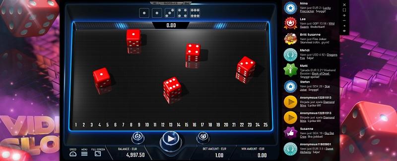 Spela nya spelautomaten Slotdice hos Videoslots!