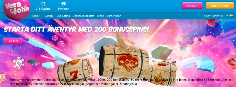 VeraJohn bonus med 2000 kr i casinobonus